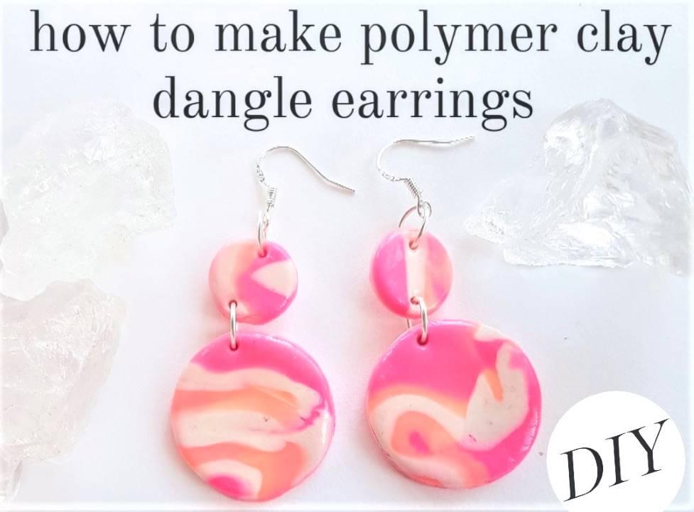 polymer clay dangle earrings - how to make