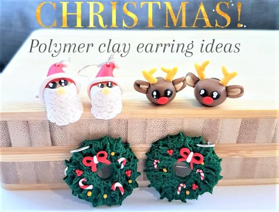 Christmas polymer clay earrings ideas