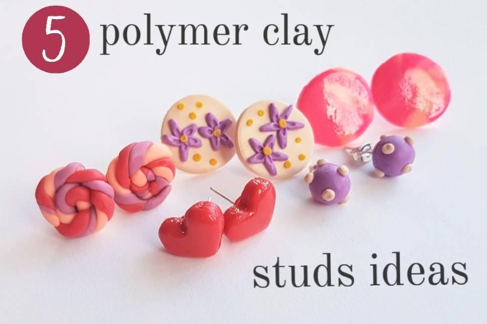 polymer clay stud earrings ideas